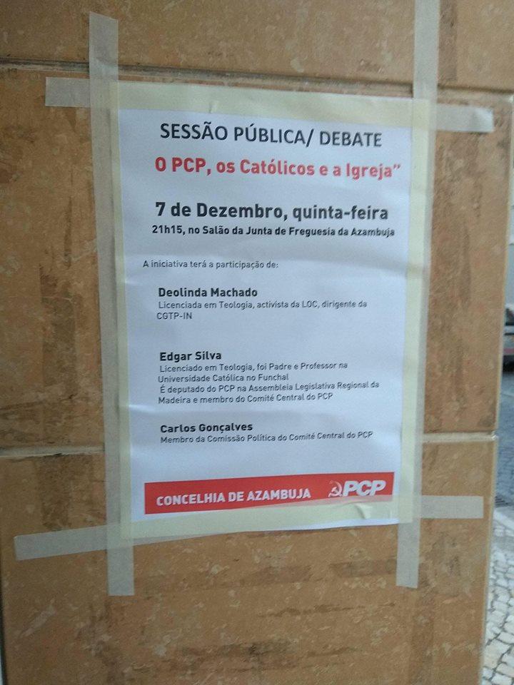 """Cartaz Sessão Pública/Debate """"O PCP, os Católicos e a Igreja"""""""