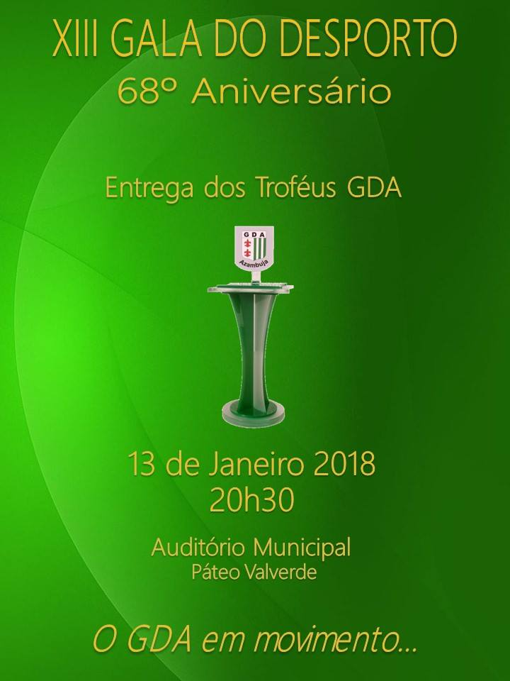 """Cartaz """"XIII Gala do Desporto"""" (Foto: Facebook Grupo Desportivo de Azambuja)"""
