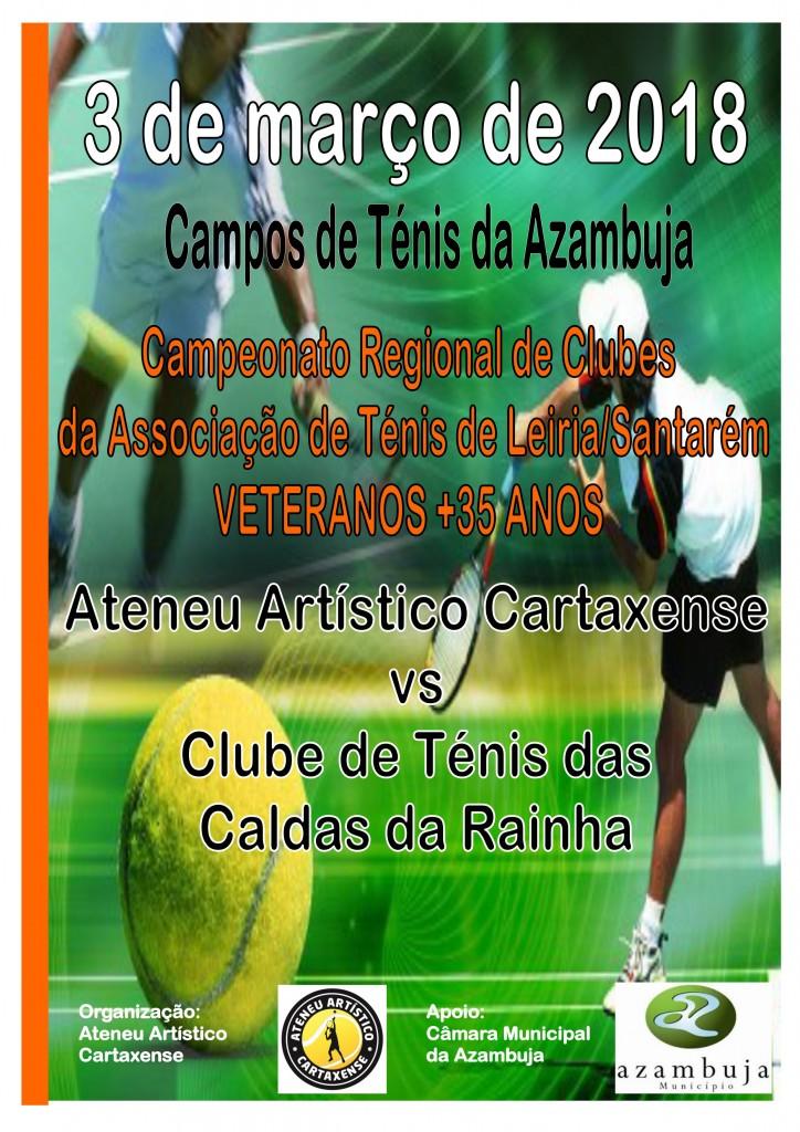 """Cartaz """"Ateneu Artístico Cartaxense Vs Clube de ténis das Caldas da Rainha"""""""